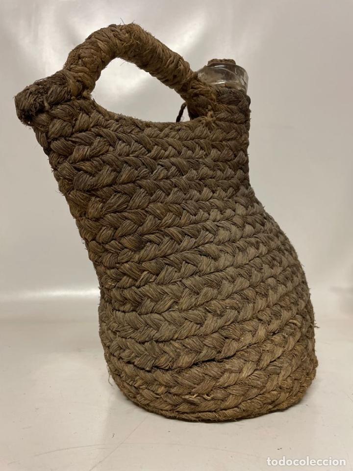 Antigüedades: ANTIGUO PORRON DE VIDRIO CUBIERO EN ESPARTO - Foto 4 - 273657798