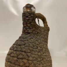 Antigüedades: ANTIGUO PORRON DE VIDRIO CUBIERO EN ESPARTO. Lote 273657798