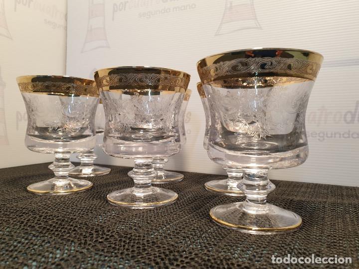SEIS COPAS VINO LUJO CRISTAL MURANO MEDICI GRABADAS ACIDO BORDE ORO 22KT (Antigüedades - Cristal y Vidrio - Murano)