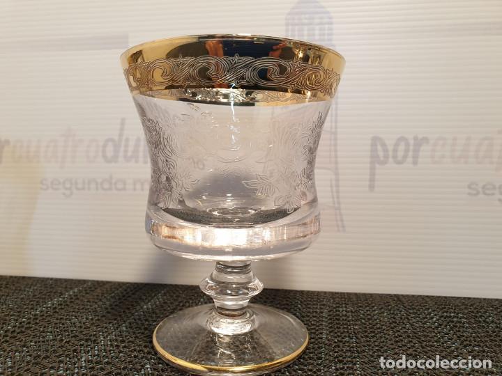 Antigüedades: Seis copas vino lujo cristal Murano Medici grabadas acido borde oro 22Kt - Foto 3 - 273734978