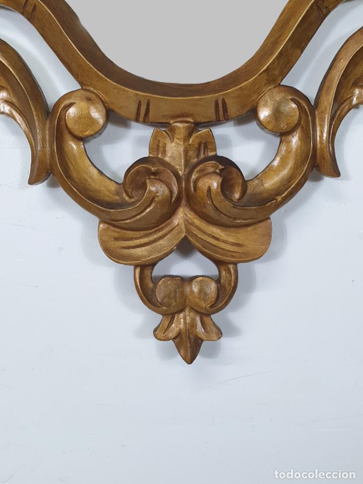 Antigüedades: Cornucopia - Talla de Madera Dorada en Pan de Oro - Espejo - Ancho - 65 cm, Altura - 93 cm - Foto 3 - 273792608