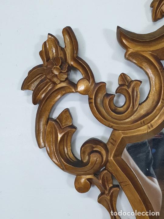 Antigüedades: Cornucopia - Talla de Madera Dorada en Pan de Oro - Espejo - Ancho - 65 cm, Altura - 93 cm - Foto 4 - 273792608