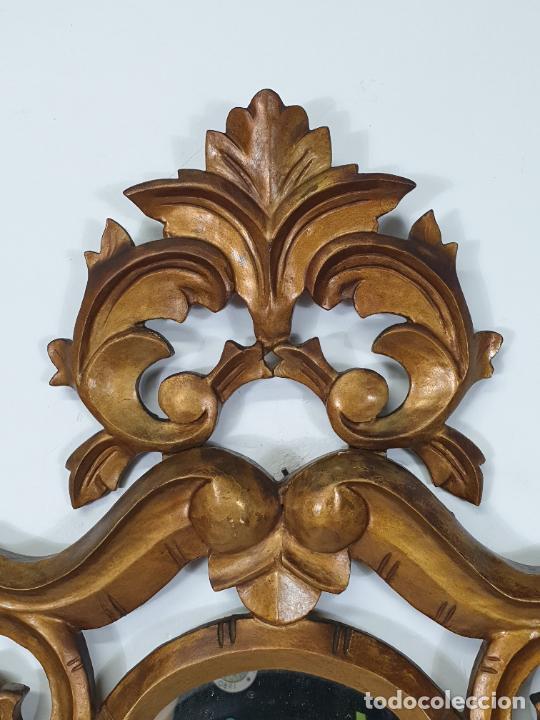 Antigüedades: Cornucopia - Talla de Madera Dorada en Pan de Oro - Espejo - Ancho - 65 cm, Altura - 93 cm - Foto 5 - 273792608