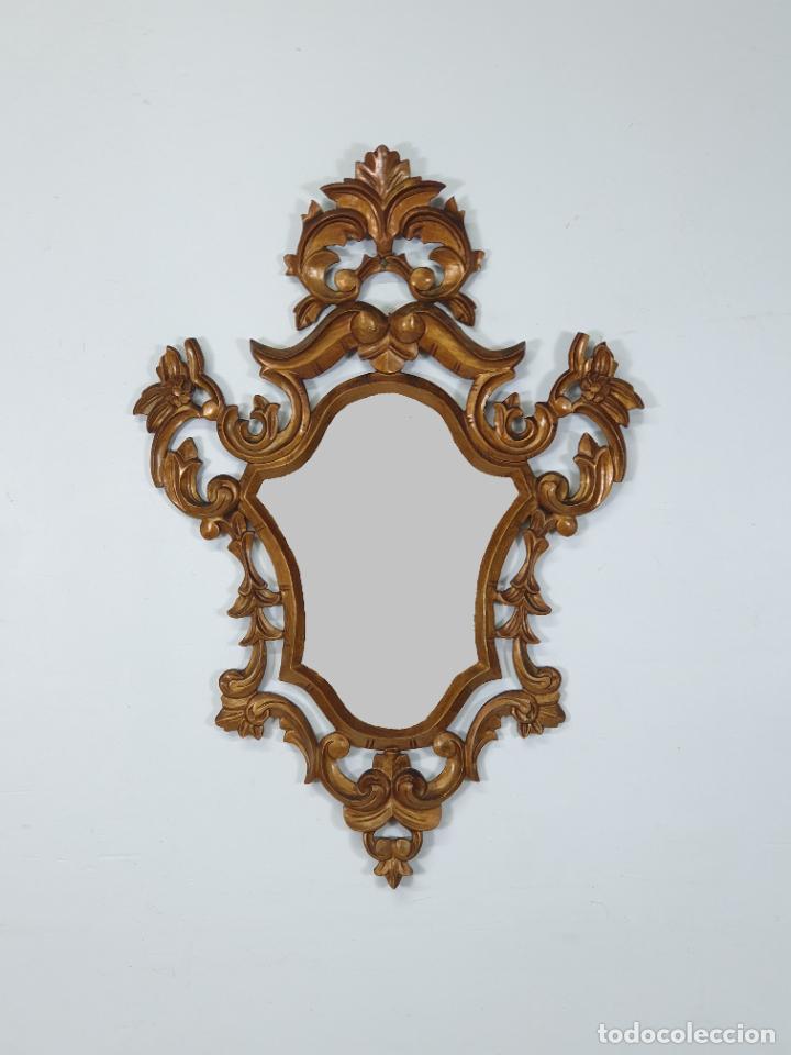 Antigüedades: Cornucopia - Talla de Madera Dorada en Pan de Oro - Espejo - Ancho - 65 cm, Altura - 93 cm - Foto 9 - 273792608