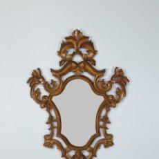 Antigüedades: CORNUCOPIA - TALLA DE MADERA DORADA EN PAN DE ORO - ESPEJO - ANCHO - 65 CM, ALTURA - 93 CM. Lote 273792608