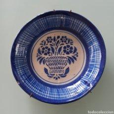 Antigüedades: ANTIGUO PLATO DE CERÁMICA AZUL MANISES * FLORES. Lote 273942573