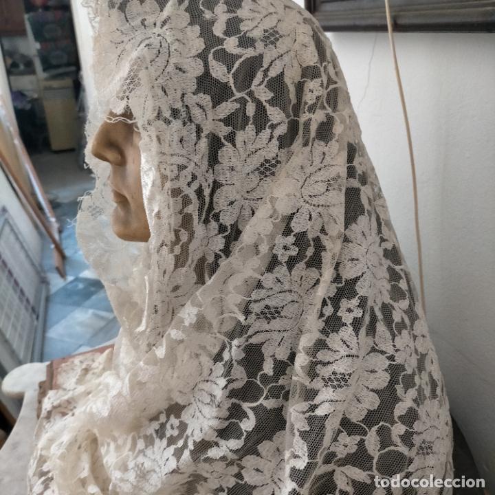 Antigüedades: 160 x 51cm antigua mantilla RECTANGULAR blonda encajes ideal virgen tocado semana santa boda - Foto 2 - 273992558