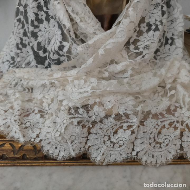 Antigüedades: 160 x 51cm antigua mantilla RECTANGULAR blonda encajes ideal virgen tocado semana santa boda - Foto 3 - 273992558