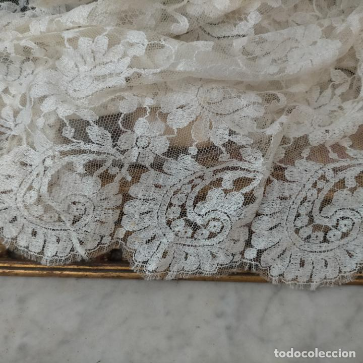 Antigüedades: 160 x 51cm antigua mantilla RECTANGULAR blonda encajes ideal virgen tocado semana santa boda - Foto 4 - 273992558