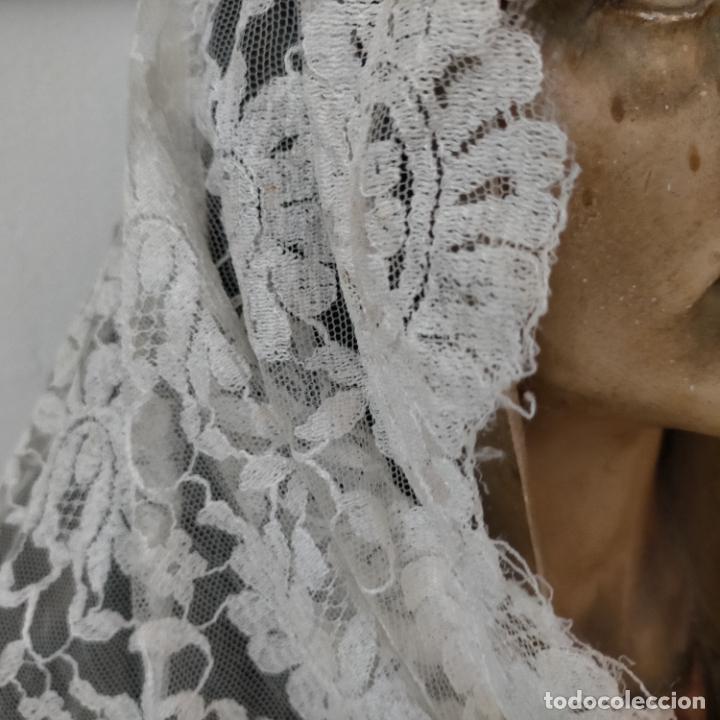 Antigüedades: 160 x 51cm antigua mantilla RECTANGULAR blonda encajes ideal virgen tocado semana santa boda - Foto 6 - 273992558