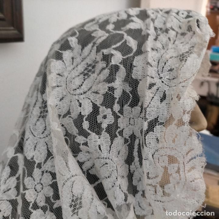 Antigüedades: 160 x 51cm antigua mantilla RECTANGULAR blonda encajes ideal virgen tocado semana santa boda - Foto 7 - 273992558