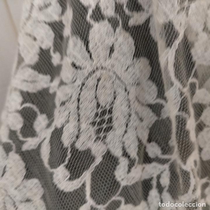 Antigüedades: 160 x 51cm antigua mantilla RECTANGULAR blonda encajes ideal virgen tocado semana santa boda - Foto 8 - 273992558