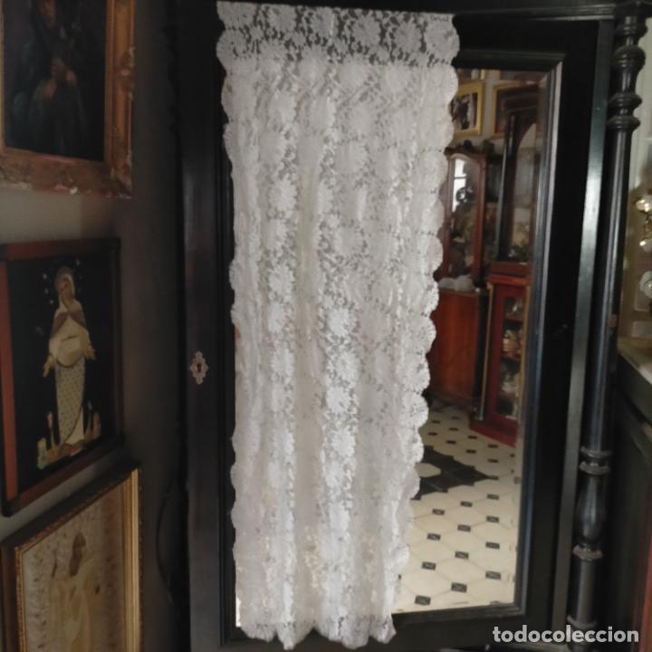 Antigüedades: 160 x 51cm antigua mantilla RECTANGULAR blonda encajes ideal virgen tocado semana santa boda - Foto 13 - 273992558