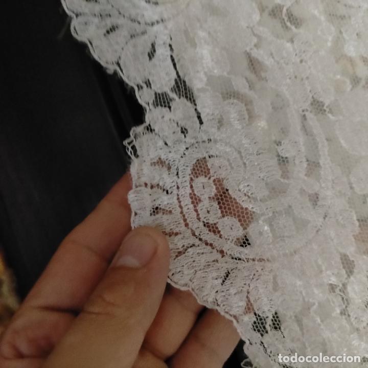 Antigüedades: 160 x 51cm antigua mantilla RECTANGULAR blonda encajes ideal virgen tocado semana santa boda - Foto 15 - 273992558