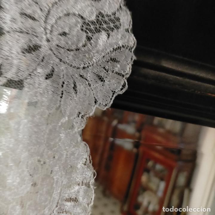 Antigüedades: 160 x 51cm antigua mantilla RECTANGULAR blonda encajes ideal virgen tocado semana santa boda - Foto 16 - 273992558