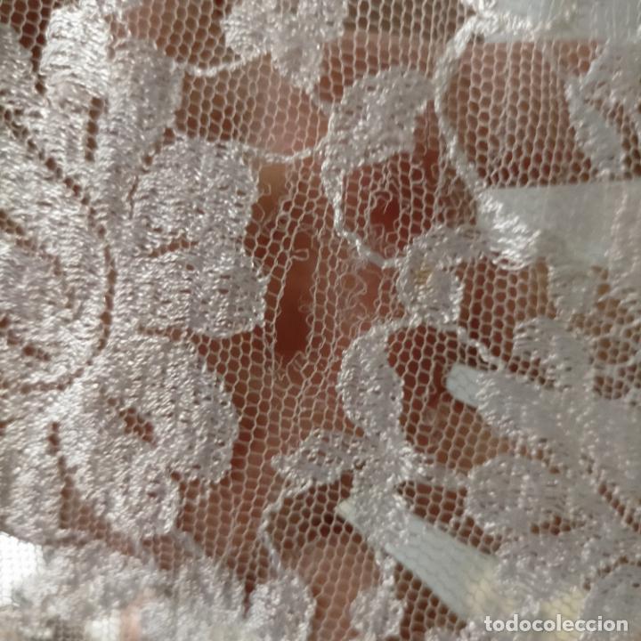 Antigüedades: 160 x 51cm antigua mantilla RECTANGULAR blonda encajes ideal virgen tocado semana santa boda - Foto 21 - 273992558