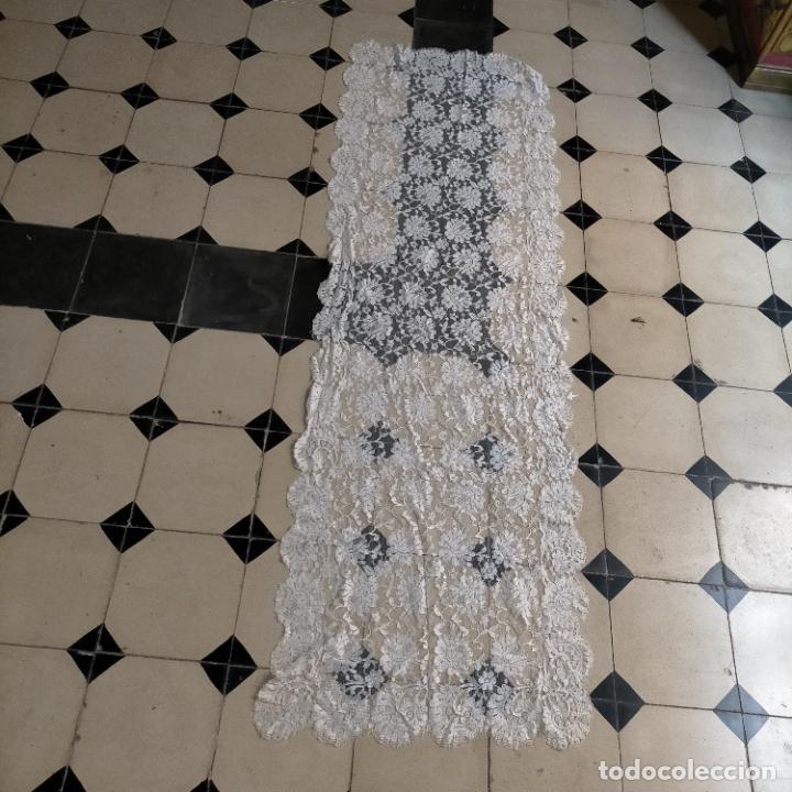 Antigüedades: 160 x 51cm antigua mantilla RECTANGULAR blonda encajes ideal virgen tocado semana santa boda - Foto 22 - 273992558