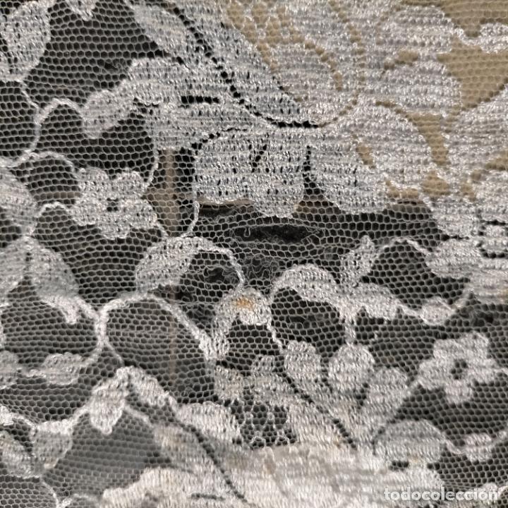 Antigüedades: 160 x 51cm antigua mantilla RECTANGULAR blonda encajes ideal virgen tocado semana santa boda - Foto 24 - 273992558