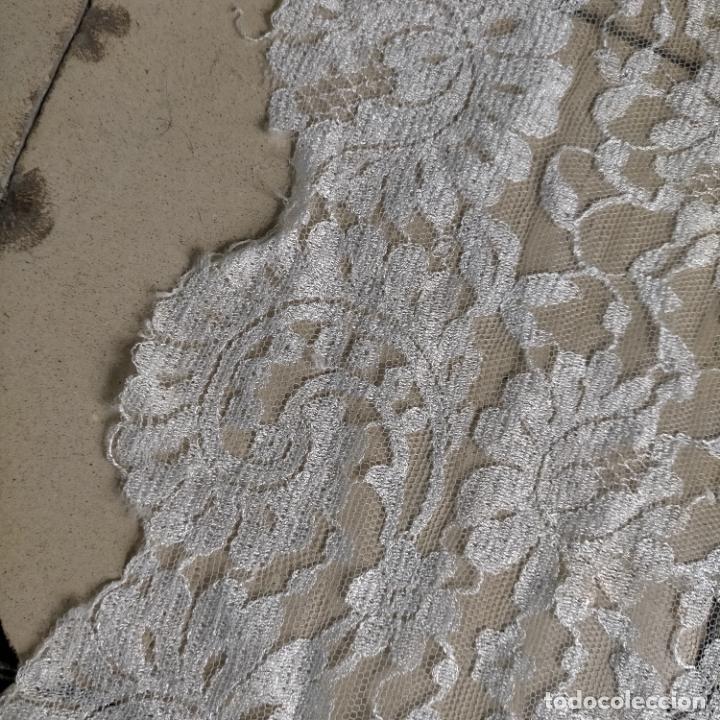 Antigüedades: 160 x 51cm antigua mantilla RECTANGULAR blonda encajes ideal virgen tocado semana santa boda - Foto 27 - 273992558