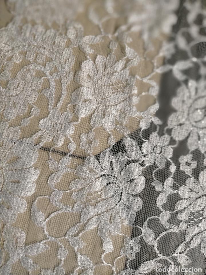 Antigüedades: 160 x 51cm antigua mantilla RECTANGULAR blonda encajes ideal virgen tocado semana santa boda - Foto 30 - 273992558
