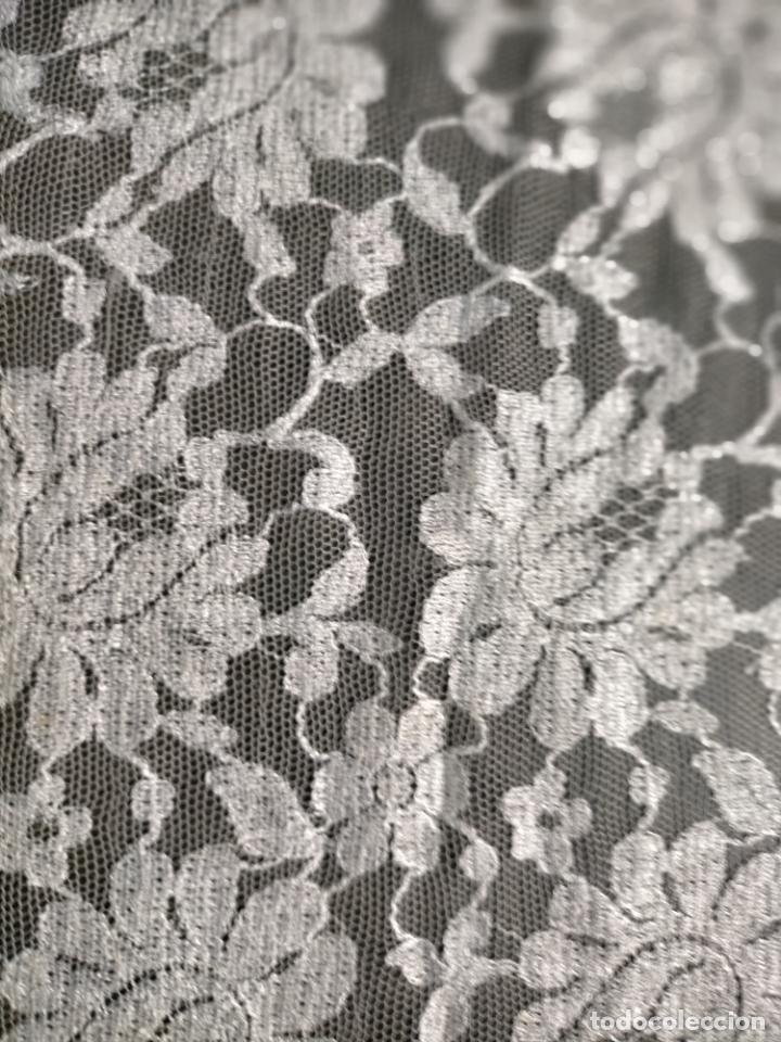 Antigüedades: 160 x 51cm antigua mantilla RECTANGULAR blonda encajes ideal virgen tocado semana santa boda - Foto 31 - 273992558