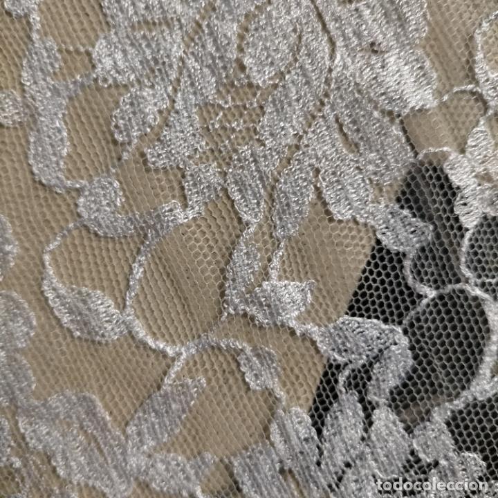 Antigüedades: 160 x 51cm antigua mantilla RECTANGULAR blonda encajes ideal virgen tocado semana santa boda - Foto 35 - 273992558
