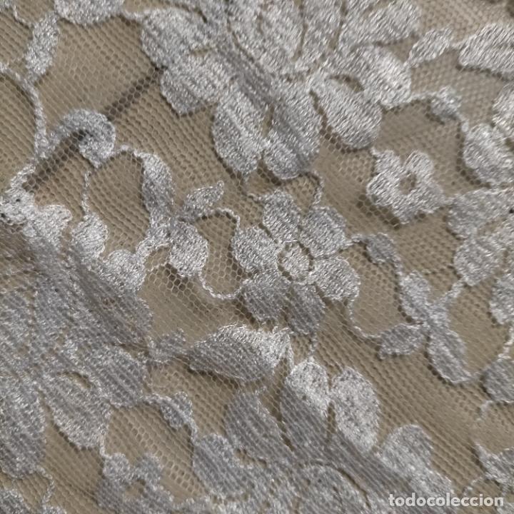 Antigüedades: 160 x 51cm antigua mantilla RECTANGULAR blonda encajes ideal virgen tocado semana santa boda - Foto 36 - 273992558