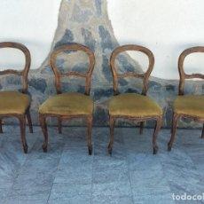 Antigüedades: LOTE DE 4 SILLAS ESTILO ISABELINO DE MADERA NOBLE,TAPIZADO TERCIOPELO VERDE.. Lote 274201873