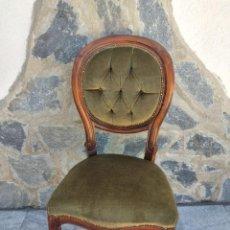 Antiquités: PRECIOSA SILLA ISABELINA DE MADERA NOBLE,TAPIZADO TERCIOPELO VERDE.. Lote 274202193