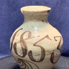 Antiquités: JARRA UN ASA CERAMICA PUENTE ARZOBISPO GRANDES NUMEROS FECHA 1853 S XIX GOLPES 23X15CMS. Lote 274244403