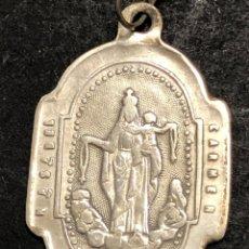 Antigüedades: MEDALLA DE PLATA VIRGEN DEL CARMEN - SAGRADO CORAZÓN. Lote 274264053