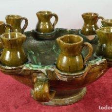 Antigüedades: QUEIMADA DE CERÁMICA ESMALTADA Y VIDRIADA. 8 JARRAS. GALICIA. SIGLO XX.. Lote 274336203