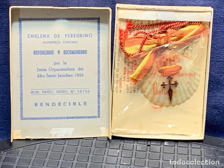 EMBLEMA PEREGRINACIONES SANTIAGO DE COMPOSTELA CONCHA AUTENTICA 1954 AÑO SANTO JACOBEO 11X8CMS (Antigüedades - Religiosas - Varios)