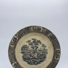 Antigüedades: ANTIGUO PLATO DE LA REAL FABRICA DE SARGADELOS SERIE GÓNDOLA SIGLO XIX LAÑADO. Lote 274437748