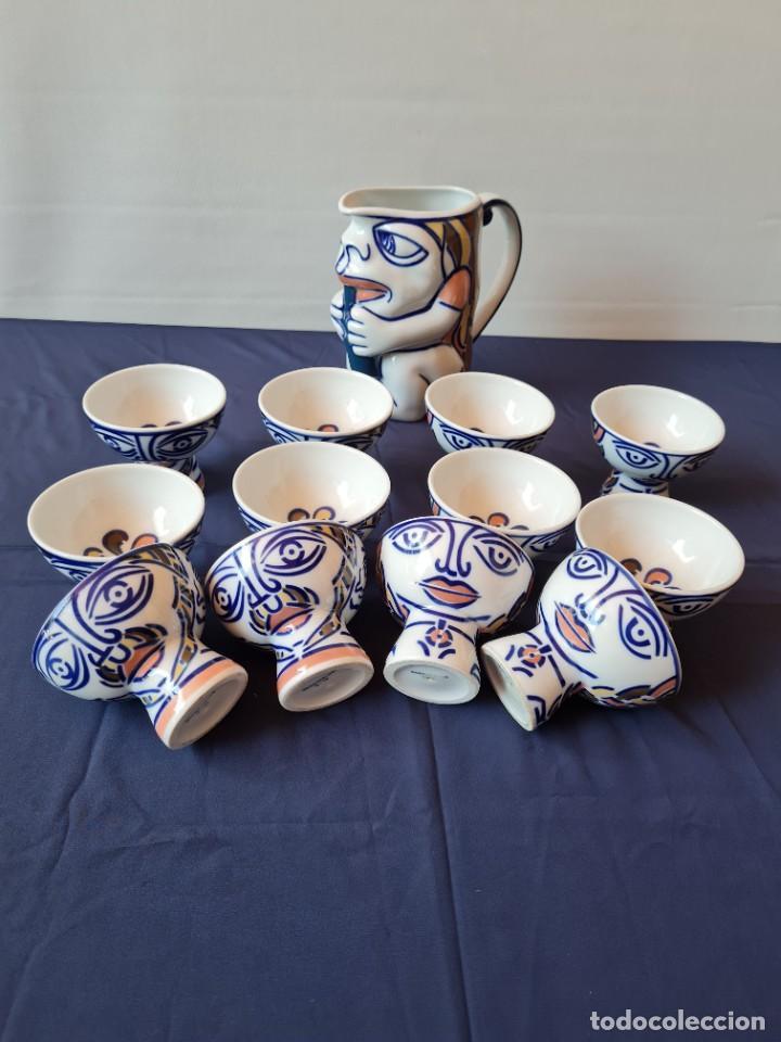 JUEGO SARGADELOS CASTRO JARRA PIFANZA Y 12 TAZAS DISEÑO ISAAC DIAZ PARDO (Antigüedades - Porcelanas y Cerámicas - Sargadelos)