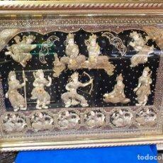 Antigüedades: TAPIZ ARTESANAL NEPAL TIBET HILO DE ORO. Lote 274872323