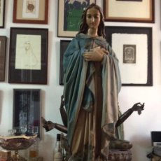 Antigüedades: GRAN VIRGEN CORAZÓN DE MARIA CON SERPIENTE. Lote 274913428