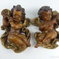 Antigüedades: BONITA DECORACION RELIGIOSA DE PARED ANGELES ANGELITOS MUSICOS. Lote 275030348