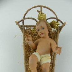 Antiguidades: BONITO NIÑO JESÚS CON CUNA EXCELENTE PIEZA DE DECORACION. Lote 275037223