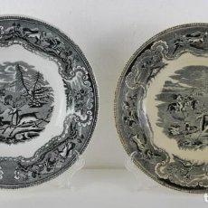 Antigüedades: PAREJA DE PLATOS DE CERÁMICA LA AMISTAD FÁBRICA DE CARTAGENA. MOTIVOS DE CAZA. SIGLO XIX. Lote 275039768