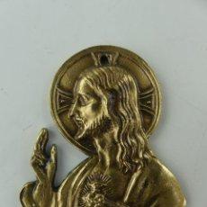 Antiguidades: PLACA PARA PUERTA SAGRADO CORAZON DE JESUS PLACA DE METAL CRISTO IMAGEN RELIGIOSA. Lote 275057953