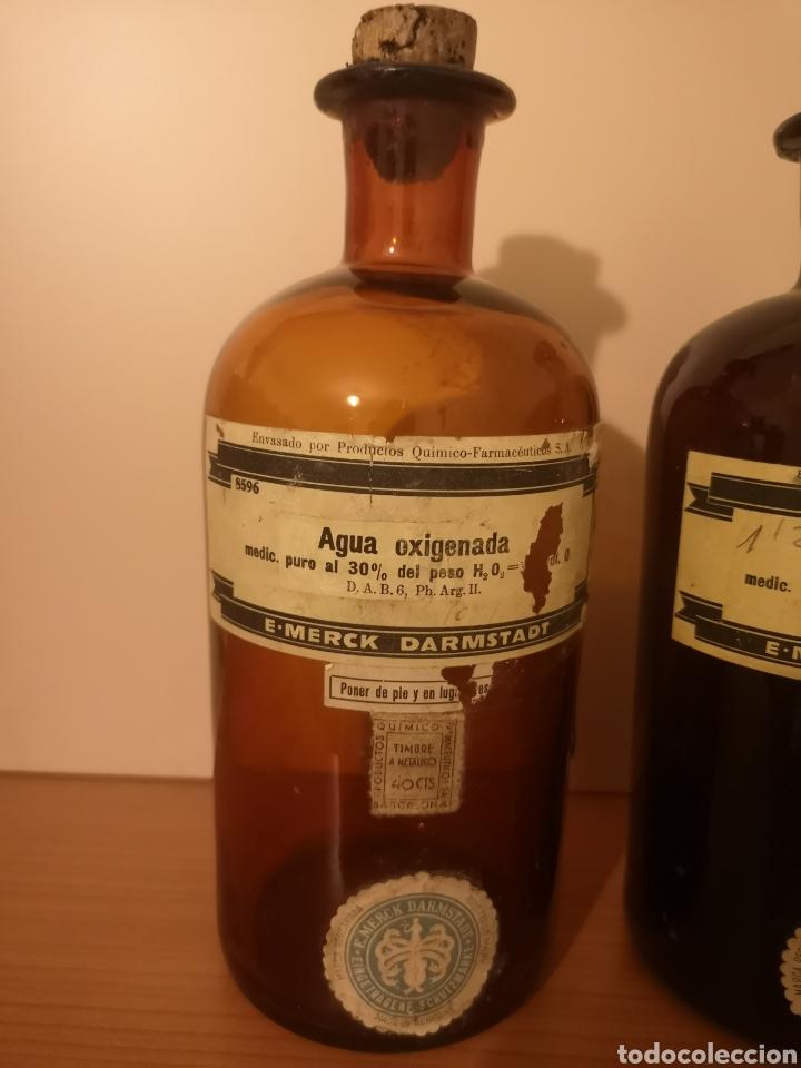 Antigüedades: 2 botellas agua oxigenada Merck Darmstadt - Foto 2 - 275087828
