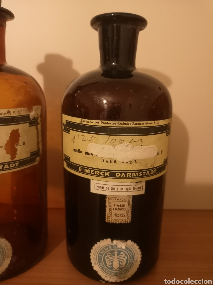 Antigüedades: 2 botellas agua oxigenada Merck Darmstadt - Foto 3 - 275087828