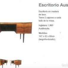 Antigüedades: ESCRITORIO INGLES VINTAGE 60'S. Lote 275117338
