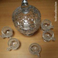 Antigüedades: PONCHERA CRISTAL TALLADO BOHEMIA CON 5 JARRITAS MEDIDAS 31 DE ALTO X 18 DE ANCHO CENTÍMETROS. Lote 275148963