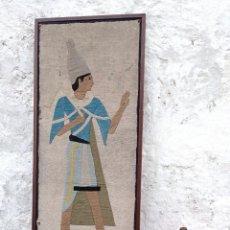 Antigüedades: 142 CM . ANTIGUO TAPIZ EGIPCIO. TELA DE LINO CON APLICACIONES DE ALGODÓN. S. XIX EGIPTO - MARCO. Lote 275157043