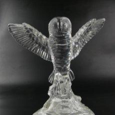 Antiquités: EXCELENTE FIGURA LECHUZA DE CRISTAL Y PLATA OBJETO DE DECORACION. Lote 275195213