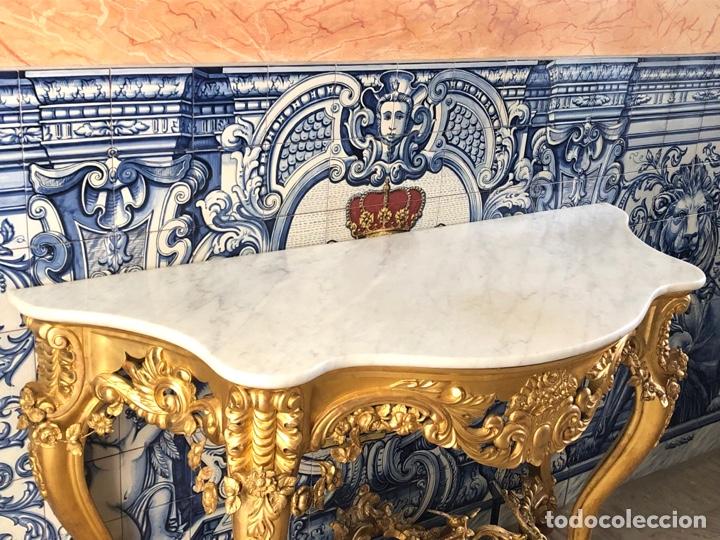 Antigüedades: Consola isabelina dorada siglo XIX, 148 cm - Foto 3 - 275212643