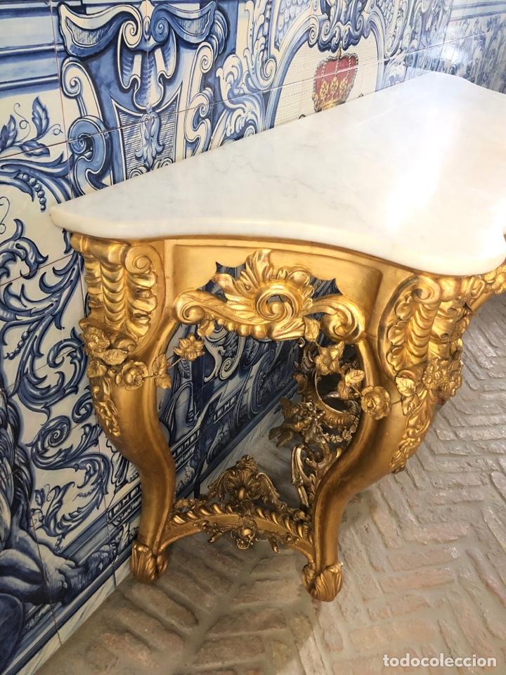 Antigüedades: Consola isabelina dorada siglo XIX, 148 cm - Foto 4 - 275212643