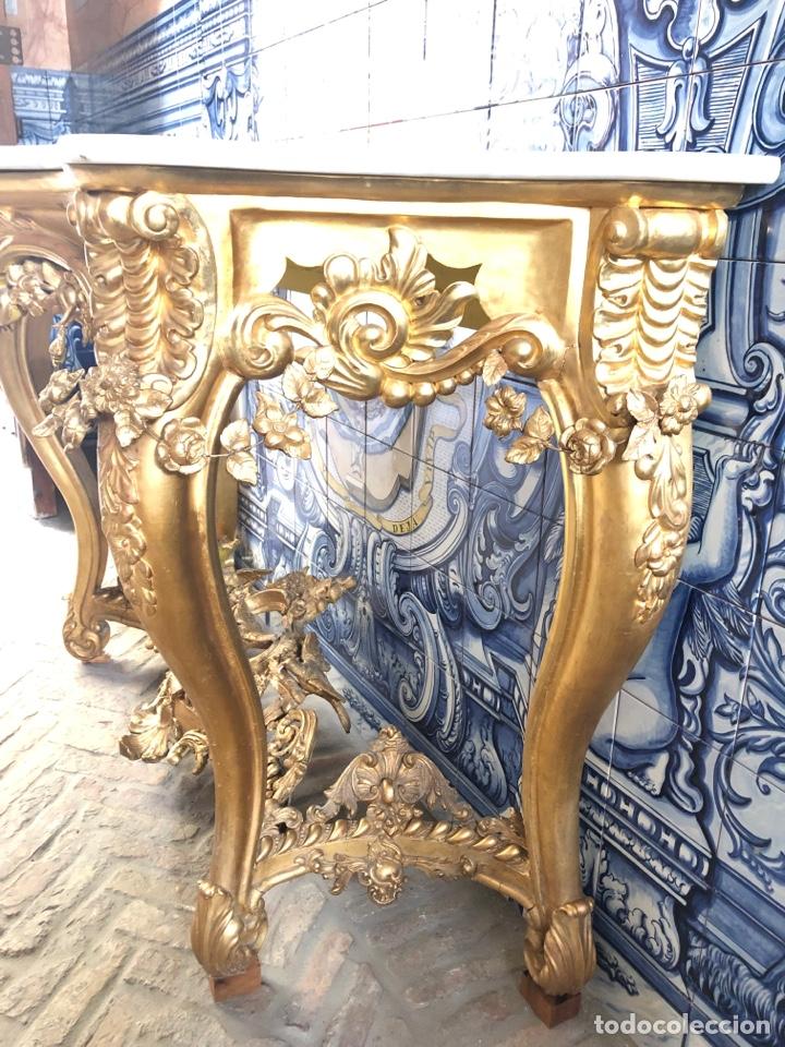 Antigüedades: Consola isabelina dorada siglo XIX, 148 cm - Foto 7 - 275212643